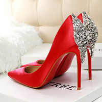 New Luxury Elegant Pumps Star Shoes Rhinestone Satin High Heels Shoes Thin High-heeled Pointed Shiny Party Wedding Shoes G1510-2