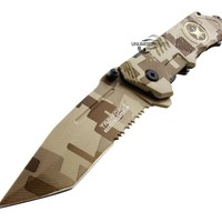 Unlimited Wares Tanto Special Forces Assisted Opening Folding Knife Desert Camo 4.75-Inch Closed