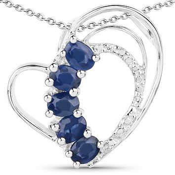 A Natural Blue Sapphire Heart Pendant Necklace