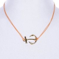 NECKLACE / LINK / CORD / METAL / ANCHOR / 3/4 INCH DROP / 18 INCH LONG / NICKEL AND LEAD COMPLIANT