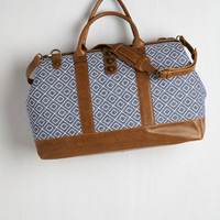 Boho Revivals and Departures Weekend Bag in Blue and White by ModCloth