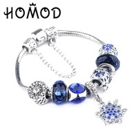 HOMOD 2017 Trendy Silver Pandora Charm Bracelet Christmas gift For Women Blue Crown Beads Bracelet Female Pulseras Mujer