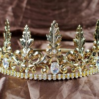 Noble Medieval King Prince Crowns Gold Austrian Rhinestones