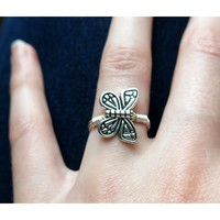 Tibetan Silver Butterfly Wrapped Ring - Silver Plated Enamel Coated Wire - Spring Fashion - Butterflies - Silver