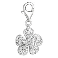 Sterling Silver Enamel & Crystal clip-on flower charm
