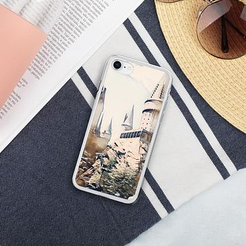 """Hogwarts Castle"" Liquid Glitter Phone Case Travel Themed Gift"