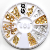 One Box Silver and Gold Different Shape Alloy DIY Nail Art Decoration