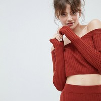 ASOS DESIGN crop jumper in rib with off shoulder detail at asos.com
