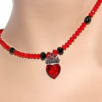 Red Crystal Necklace, Necklace With Red Heart, Red And Black beaded Necklace