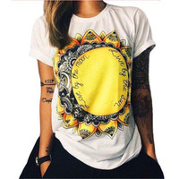 Cotton Floral Printed Short Sleeve T-Shirt a11910