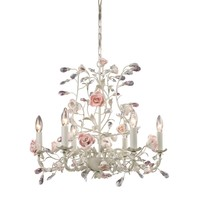 8092/6 Heritage 6 Light Chandelier In Cream With Pink Porcelain Accents