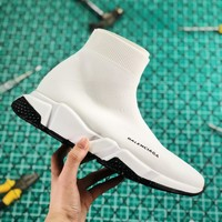 Balenciaga Stretch In White Knit Speed Trainers With White And Black Sole Sneaker - Best Online Sale