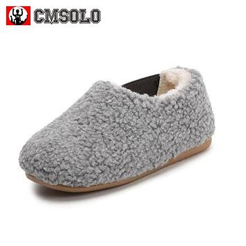 CMSOLO Winter Girls Shoes Warm Boys Casual Footwear Kids Non-slip Cow Muscle Soft Child Home Baby Lambs Velvet Upper Moccasins