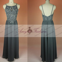 2015 New Arrival Elegant Floor Length Long Bedaed Sexy Spaghetti Strap Prom Dress Bridemaid Grey Dresses Evening Gown Homecoming Dress