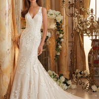 Blu by Mori Lee 5469 V-Neckline Tank Lace Fit & Flare Wedding Dress – Off White by Bridal Expressions