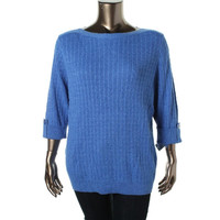 Karen Scott Womens Plus Cable Knit Boatneck Pullover Sweater