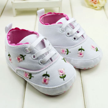 Cute Embroidered Lace Baby Infant Shoes Kids Girls Soft Bottom Shoes First Walkers