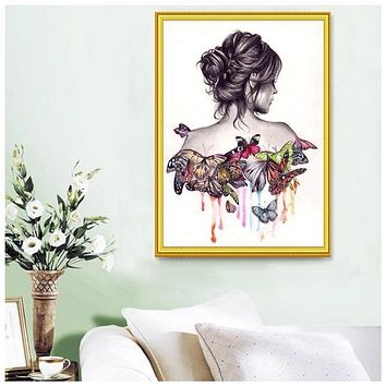 Butterfly Girl 5D Diamond DIY Painting Embroidery Craft Kit Living Room Bedroom Wall Cross Stitch Home Decorations Gift
