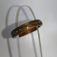Rosewood and Iron Pyrite bent wood ring