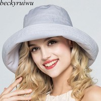 Lady Summer Beach Wide Brim Fisherman Hat Women Fashion Cotton and Linen Big Bowknot Plain Bucket Hat