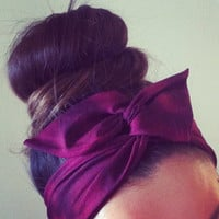 Purple Cherry Dolly Bow Headband
