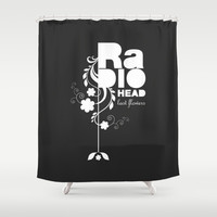 Radiohead song - Last flowers illustration white Shower Curtain by LilaVert