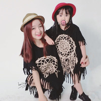 2016 spring and summer tassel skirt paternity Family Matching Outfits Mother And Daughter black wild fringed dress Free Shipping