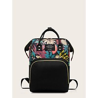 Colorful Leaf Print Pocket Front Backpack