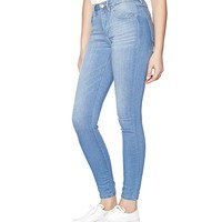 Preppy Blue Retro High Waist Jegging