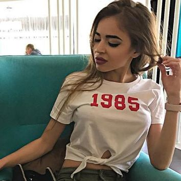 2017 Trending Fashion Women Floral Printed Floral Printed Short Sleeve Strappy T-Shirt _ 13446