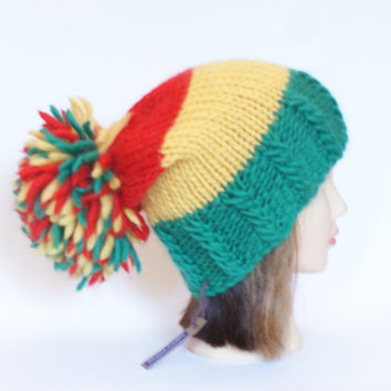 Irish handknit red green and yellow county hat slouchy hats with pompom fun knitted wool hats for women teenagers child chunky yarn