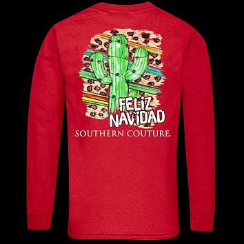 Southern Couture Classic Feliz Navidad Holiday Long Sleeve T-Shirt