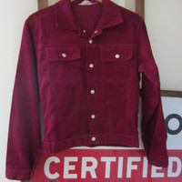 70s Maroon Corduroy Blazer by Montgomery Ward, M // Vintage Single-Breasted Jacket