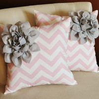 TWO Decorative Pillows Gray Corner Dahlia on Light Pink and White Zigzag Pillows