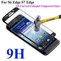 3D Curved Full Cover 9H Tempered Glass Screen Protector Film Phone Cases For Samsung For Galaxy S6 Edge Plus S7 Edge G9350