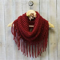 Scarf, scarves, infinity, women, cowl, tube, knit scarves, CHIC FRINGE burgundy | SC5