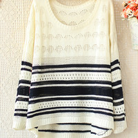 Hit The Color Long-Sleeved Striped Sweater Hollow JCAGC