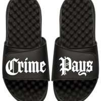 Crime Pays Unisex Slides Black
