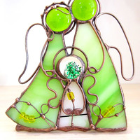 Candle holder. Stained glass Angles  family with one child. Stained glass. Gift for young family for holiday. Valentine gift. gift for her.
