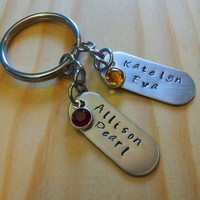Hand Stamped Mom Keychain - Personalized Mother's Keychain - Grandma Keychain - Nana Gift