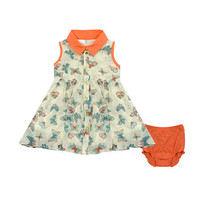 Kardashian Kids Girls Butterfly Print Sleeveless Georgette Button Up Dress and Diaper Cover
