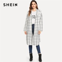 SHEIN Black and White Shawl Collar Plaid Coat Long Sleeve 2018 Streetwear Weekend Casual Contrast Modern Lady Outerwear Coat New