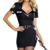 Sexy Police Officer 5pc Dress Halloween Costume Small/Medium Cop - Anita Bribe Adult Womens