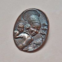 Vintage Copper Mother Child Brooch Pin, 1970s Joe Calafato Velia, Womens Estate South Africa Black History Jewelry, Wife Mom Sister Gift Her