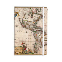 """Bruce Stanfield """"Vintage Map Of The America's """" Brown Green Everything Notebook"""