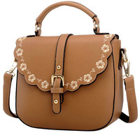 Khaki Floral Trim PU Leather Shoulder Bag