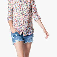 White Floral Print Long-Sleeve Button Collared Shirt