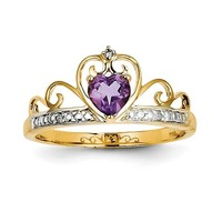 14k Yellow Gold Diamond And Amethyst Heart Crown Ring