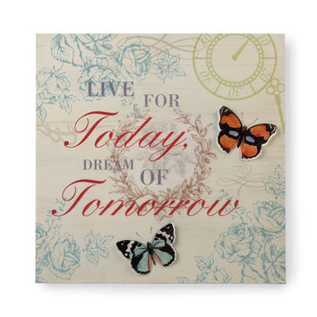 Live For Today Butterfly Tin Wall Art