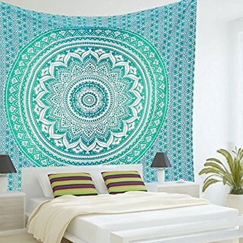 RawyalCrafts-Green Ombre Tapestry,Indian Hippie Tapestry, Wall Hanging,Bohemian Wall Hanging,Mandala Tapestry,New Age Tapestry,Gypsy Tapestry